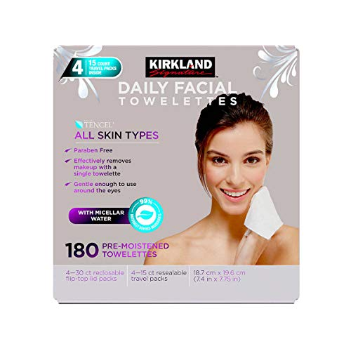 Kirkland Signature Paraben Free Micellar Daily Facial Cleansing Towelettes - 180 Count