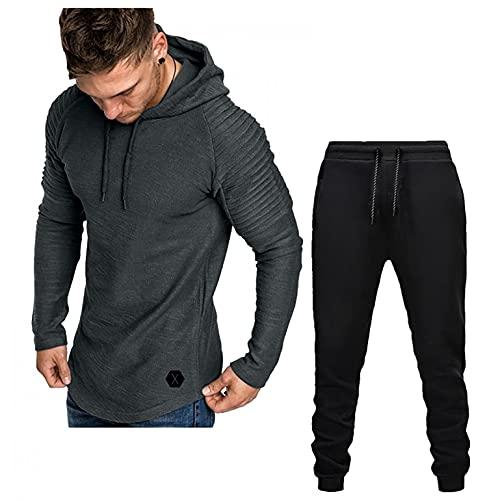 Mens Tracksuit, Mens Sweatsuits 2 Piece Fleece Warm Pullover Hoodie Sweatshirt and Sweatpants Activewear Set