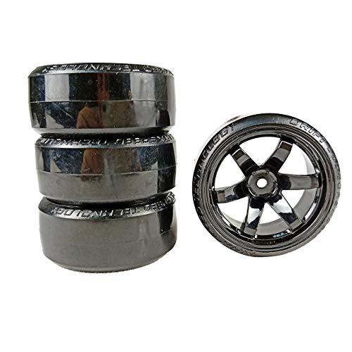 Ba30DEllylelly 4 Stück RC Gummireifen Reifen Drift Car Reifen Rad Reifen mit Felge Auto Modell Set für RC 1/10 RC Car
