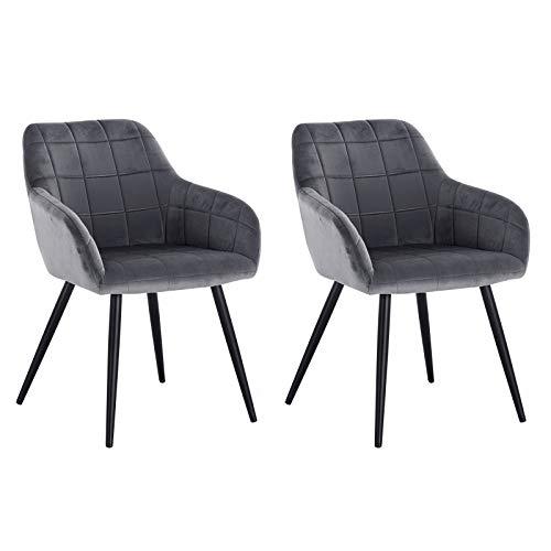 WOLTU® Esszimmerstühle BH93dgr-2 2er Set Küchenstuhl Polsterstuhl Wohnzimmerstuhl Sessel mit Armlehne, Sitzfläche aus Samt, Metallbeine, Dunkelgrau