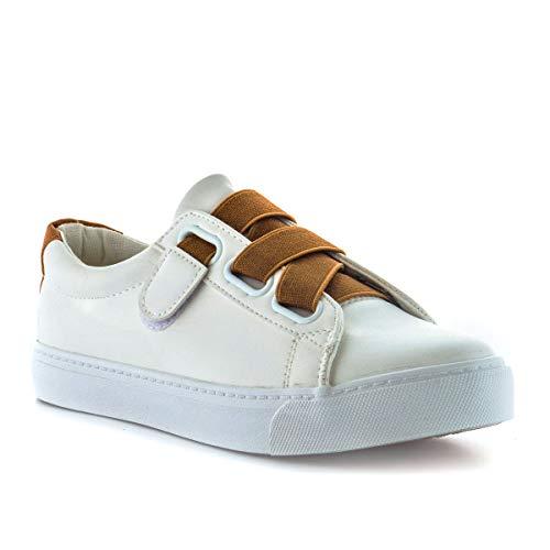 PAYMA - Zapatillas Bambas Deportivas Plataforma Mujer. Tenis Deporte, Casual y Caminar. Cierre Elastico y Velcro. Color: Blanco Marrón. Talla: EU 40