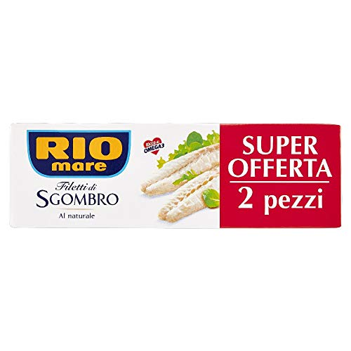 Rio Mare, Filetti di Sgombro al Naturale, Ricchi di Omega 3, 2 Lattine da 125 g
