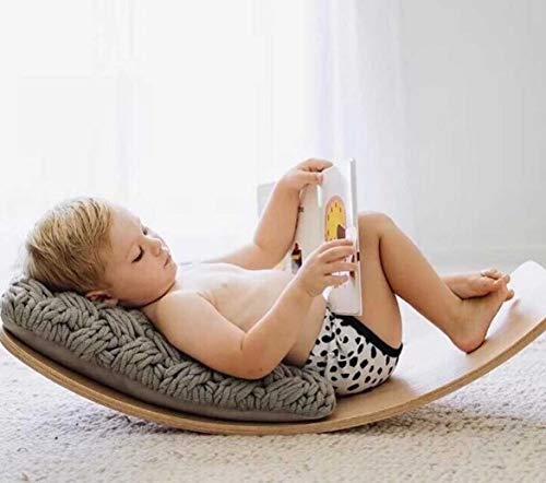 TKmom Wooden Balance Board Wobble Board Waldorf Toys Kid Yoga Board Curvy Board  Wooden Rocker Board Kid Size