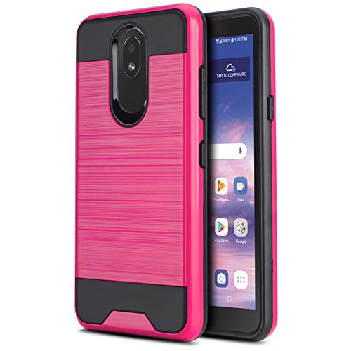 CasemartUSA Phone Case for [LG Journey LTE (L322DL)], [Protech Series][Hot Pink] Shockproof Brushed Hybrid Slim Cover for LG Journey LTE (Tracfone, Simple Mobile, Straight Talk, Total Wireless)