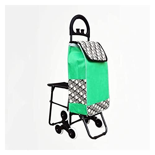 TabloKanvas Warenkorb Kleinwagen Tragbare Trolley Ältere Klappstuhl Haushalt Trolley (Color : Green, Size : with seat)