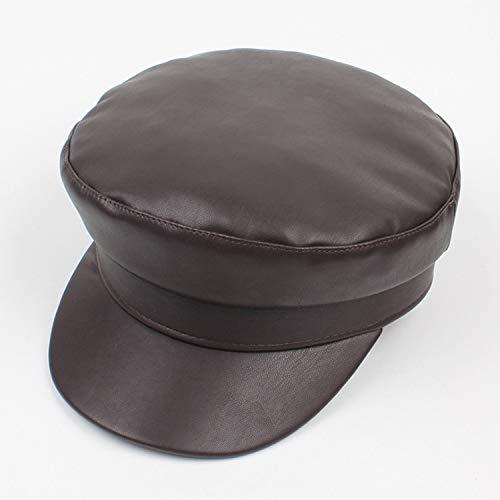 XFGBTJKYUT XFGBTJKYUT Frauen Hut Winter pu-Leder weibliche Mode Freizeit Plain Flache Kappe Reise Cap (Color : Dark Brown, Size : Adjustable)