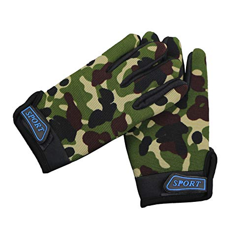 Kids Bike Gloves Full Finger Cycling Gloves for Children Sports Outdoor Anti-slip Camo Camouflage (Camouflage)