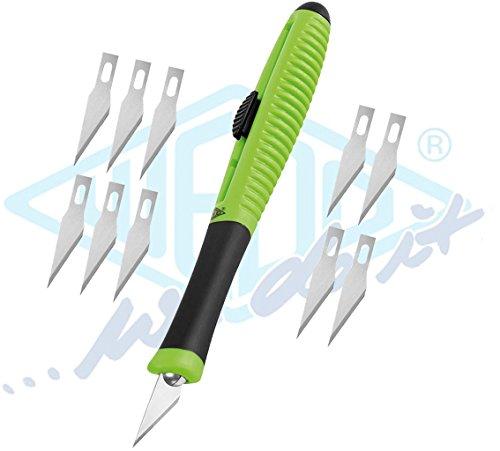 Wedo 7862599 Skalpell Pocket Comfortline mit Schiebemechanik, Softgriff inklusive 15 Ersatzklingen, apfelgrün/schwarz