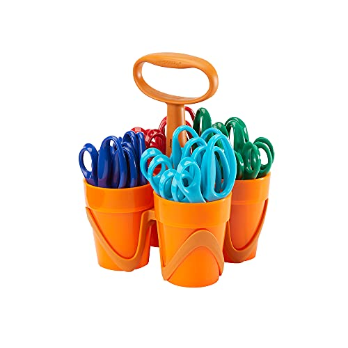 Fiskars 194300 Back to School Supplies, Kids Scissors Bulk Pointed-tip with 4-Cup Carrying Art Caddy, 5 Inch, 24 Pack, Assorted Colors