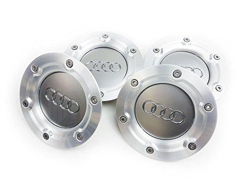 Just German Parts 8N0601165A - Confezione da 4 coprimozzi centrali per cerchi in lega, con logo Audi, per vetture Audi prodotte dal 1999 al 2005