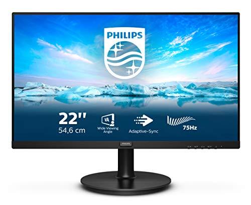 Philips 221V8LD - Monitor FHD da 22', 75 Hz, 4 ms, VA, Adaptive SYNC, Flickerfree (1920 x 1080, 250 CD/m², VGA/HDMI/DVI)