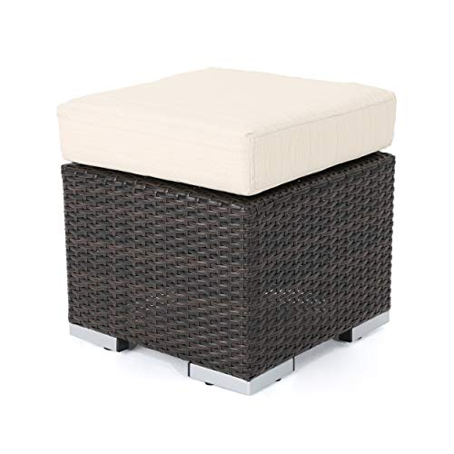 "Christopher Knight Home Santa Rosa Outdoor 16"" Wicker Ottoman Seat with Water Resistant Cushion, Multibrown / Beige"