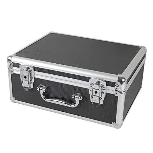 Organizadores de Herramientas Caja de herramienta de aluminio - Negro tira de espuma Estuche de herramientas caja de herramientas caja de la cartera portátil Cajas y Maletines (Color : Black)