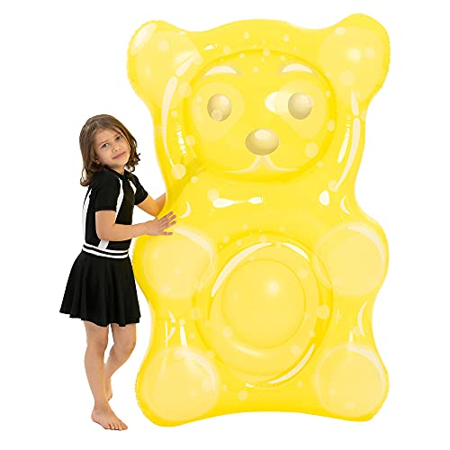 60' Inflatable Gummy Bear Pool Float for Kids and Toddlers Pool Raft Cute Water Pool Toy for Swimming Pool and Beach