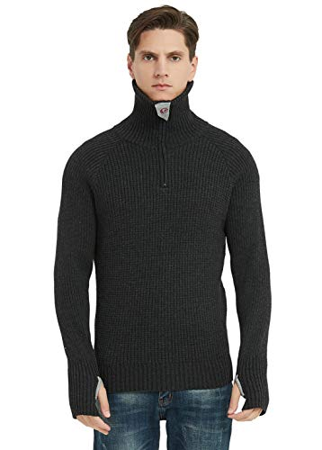 Men's Quarter Zip Turtleneck Pullover Sweater Ribbed Knit Jumpers Outerwear with Thumb Holes(Suitable for Women) Carbon Black