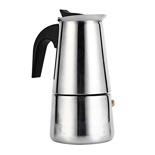 Percolador de acero inoxidable Moka Olla con percolador Estufa superior Cafetera Espresso Estufa para uso en la oficina en casa(200ml)