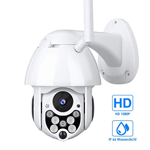 Cámara de Vigilancia Exterior, Mbuynow IP 66 Cámara de Vigilancia con IR Vision Nocturna Impermeable Seguridad Inalámbrica Cámara HD 1080P /Audio Bidireccional/Detección de Movimiento