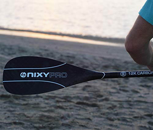 NIXY Full 12K Carbon Fiber SUP Paddle - Size 94 Adjustable Three Piece Pro Paddle with ABS Blade Edge