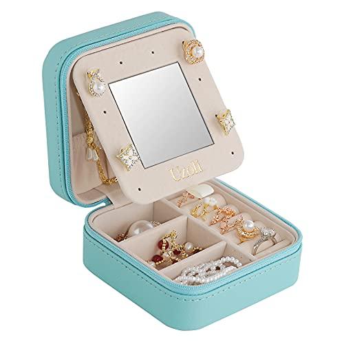 Uzoli scatola portagioie da viaggio mini porta gioielli donna portagioielli piccoli con specchio per orecchini anelli gioielli idee regalo per ragazza - blu
