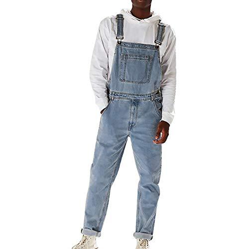 Shujin Herren Jeans Latzhose Lange Jeanshose Retro Denim Bib Overalls Skinny Fit Streetwear Stone-Washed zerreißen Arbeitshosen Jumpsuit