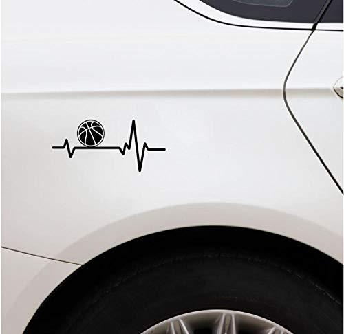 Liafa 15 X 6.9Cm Ball Basketball Heart Beat Vinyl Black Car Sticker Selbstklebende/Abnehmbare/Wasserdichte Wandtattoos