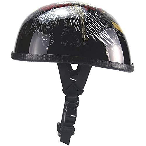 Offener Helm, Retro Harley Helm Unisex Pilot Jet Halboffener Helm Cruiser Chopper Skateboard Fahrradhelm DOT Genehmigt