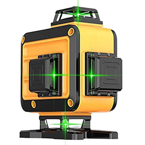 SXTYRL Nivel láser, Verde Laser, Livella Laser, Autolivellante Verticale Funzione Di Inclinazione, Linea Laser, per Decorazione, Ricaricabile, Valigetta Batterie (Color : Yellow)