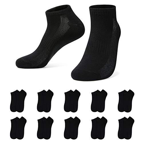 YOUCHAN Sneaker Socken Damen 39-42 Herren 10 Paar Atmungsaktives Mesh Sportsocken Kurze Halbsocken Baumwollsocken-Schwarz-39-42