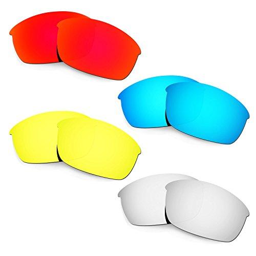 HKUCO Mens Replacement Lenses For Oakley Flak Jacket Red/Blue/24K Gold/Titanium Sunglasses