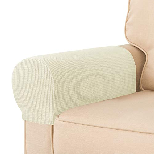 CHUN YI Set of 2 Stretch Polyester Sofa Armchair Armrest Covers Slipcovers Furniture Protector Spandex Fabric Jacquard Anti-Stain Washable Couch Arm Cover Slipcover (Armrest, Ivory White)