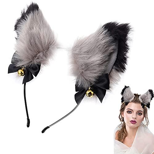Haarreif mit Katzenohren, Niedlichen Katzenohren Stirnband, Cosplay Mädchen Plüsch Katzenohren, Katzenohr-Haarband, für Frauen, Mädchen, Kostüm-Dressing-Partys (Schwarz + Grau)