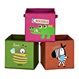 SONGMICS Caja organizadora Tela, Caja almacenaje Infantil, Juego de 3, Organizadora Juguete, Plegables con Asas, para habitación de niños, 30 x 30 x 30 cm, Tema Animal, Marrón, Verde y Rosa RFB702Y03