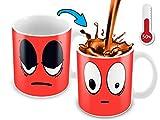 Cortunex Heat Changing Mug | 11 Oz Ceramic Color Changing Coffee Mug | Funny Coffee Mug With Funny Red Wake Up Cartoon Smiley Face | Novelty Color Changing Mug