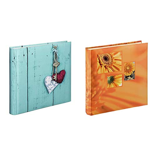 Hama Jumbo Rustico Album Foto, 30 x 30 cm, 100 Pagine o 400 Foto, Turchese & Album porta foto Jumbo Singo, 400 foto 10x15, Arancione
