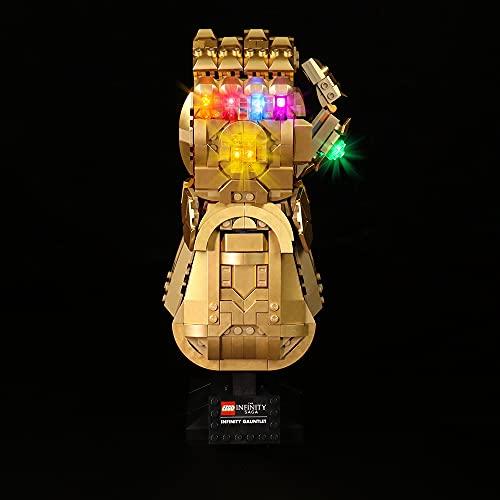 HYCH Fernbedienung LED Licht-Set für Lego Marvel Super Heroes Infinity Handschuh Beleuchtung Lichtset Kompatibel Mit Lego 76191 Infinity Handschuh (Lego-Modell Nicht enthalten) (Klassische Version)