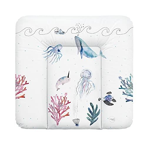 Ceba Baby Wickelauflage weiche Wickelunterlage Baby Wickeltischauflage Abwaschbar 75x70 Wasserfarben Kollektion - Ozean