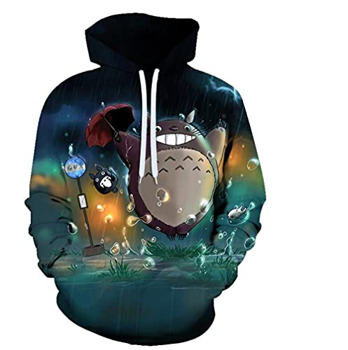 Sudaderas con Capucha Unisex Anime My Neighbor Totoro Pullover 3D Impreso Cómodo Prendas De Vestir Exteriores Transpirables Sudadera De Manga Larga Estilo De Regalo para Adolescentes 1 4XL
