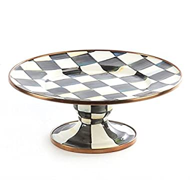MacKenzie-Childs Stainless Steel Round, Food Serving Platter - White Mini Platter with Pedestal for Catering Courtly Check Enamel Print