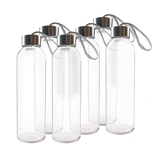 Teikis (6-Pack) Glass Water Bottles 18oz with Stainless Steel Cap