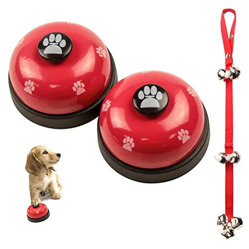 VIKEDI 2 Stück Trainingsglocken für Haustiere und 1 Stück Hunde Hund Türklingeln Ausbildung Töpfchen Glocken, Hund Türklingel für Puppy Katze Toilet Töpfchen Trainings und Kommunikationsgerät (Rot)