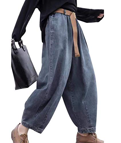 YESNO Women Casual Loose Cropped Pants Denim Bloomers Elastic Waist/Pockets 3XL PJDTYP1 Blue