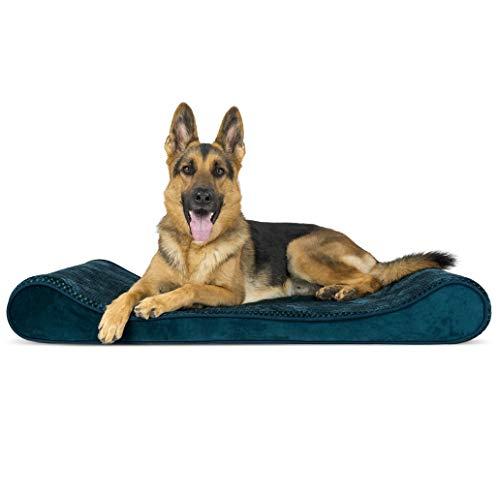 FurHaven Haustierbett für Hunde und Katzen, orthopädisch, Plüsch & Samt, Luxe-Bett, Standard-Verpackung, Jumbo, Spruce Blue