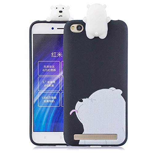 HongYong Cute 3D Bear Case for Xiaomi Redmi 5A,Ultra Slim Fit Soft Silicone Gel Bumper Shockproof Protective Cartoon Phone Case with Lovely Animal Pat