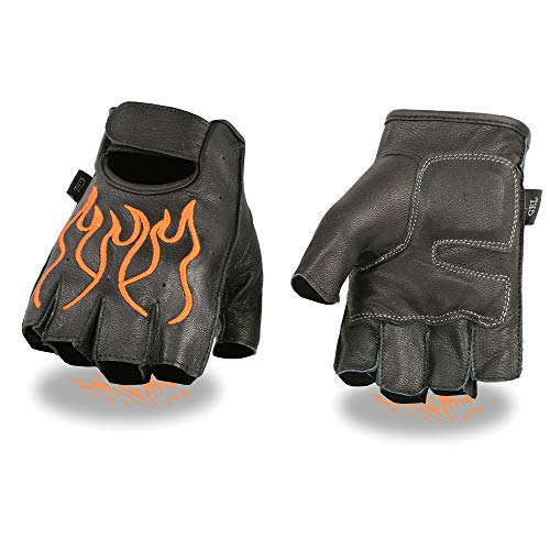 Milwaukee Leather SH198 Men's Black and Orange Leather Flamed Embroidered Fingerless Gloves - Large