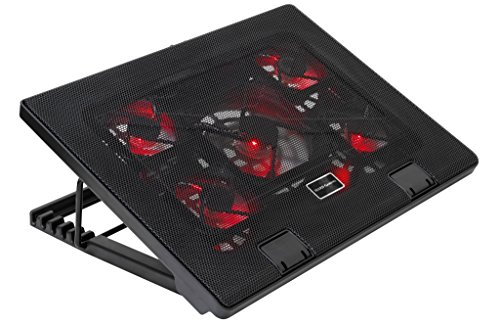 Mars Gaming MNBC2, Base PC, 5 Ventiladores, LED Roja, 2 x USB 2.0, 17.35', Negro