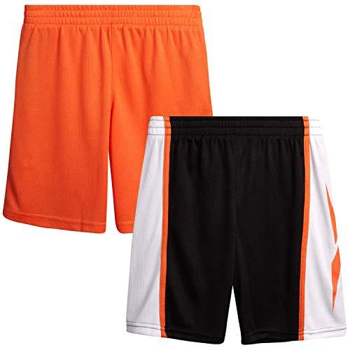 Reebok Boys' Basketball Shorts - Performance Athletic Shorts (2 Pack), Size X-Large, Black/Orange