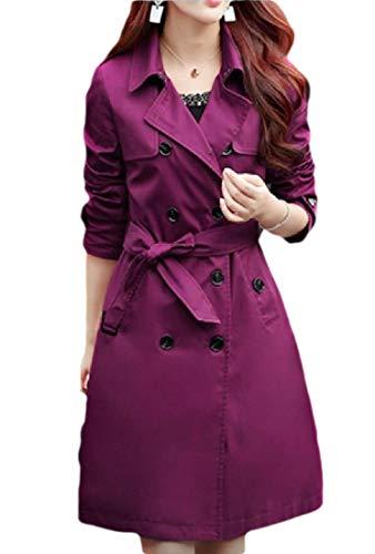Générique Trench Coat pour Femme Double Boutonnage Coupe-Vent Overcoat Long Trech Outdoor Manteau avec Ceinture - - Medium