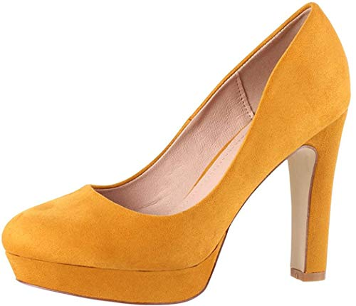 Elara Damen Pumps High Heels Vintage Abendschuh Chunkyrayan 7262-GL Yellow-41