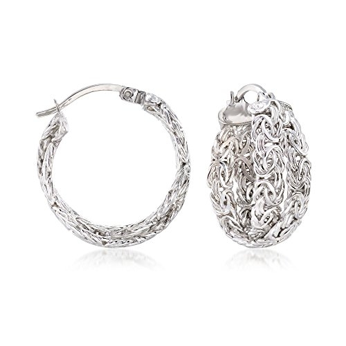 Ross-Simons Sterling Silver Byzantine Crisscross Hoop Earrings