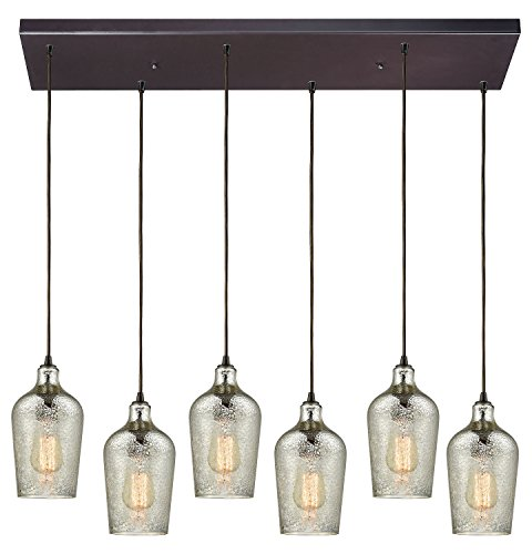 Hammered Glass 6 Light Rectangle Fixture in Oil Rubbed Bronze with Hammered Mercury Glass